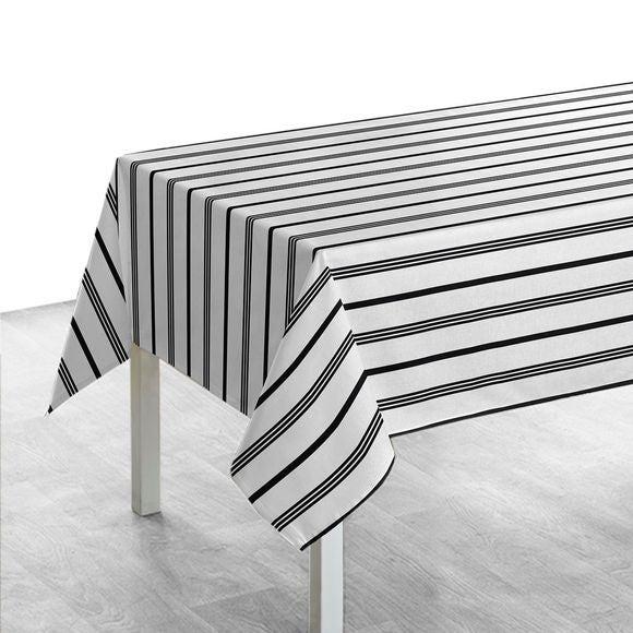 Tovaglia quadrata in cotone a righe bianco e nero, 150x250 cm