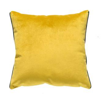 Zodio - coussin en velours avec passepoil metalisé jaune ocre 40x40cm