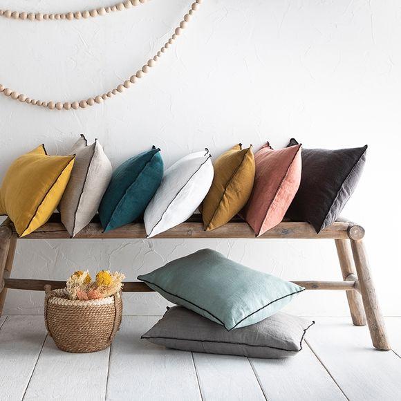 acquista online Cuscino rettangolare in lino giallo 40x60cm