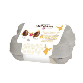 MONBANA - Mini boite de 6 œufs praliné lait et blanc 72g