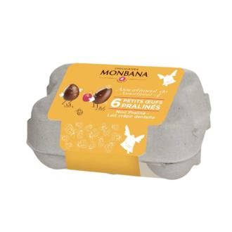 MONBANA - Mini boite de 6 œufs praliné lait et noir 72g
