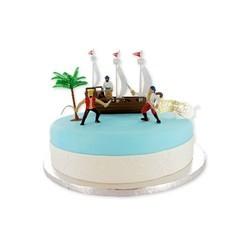 compra en línea Set de decoración de tartas no comestible - barco pirata