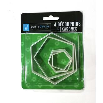 PATISDECOR - Lot de 4 découpoirs PAS hexagone/ballon de foot