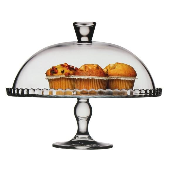 Plat à tarte en verre sur pied avec cloche D32 cm