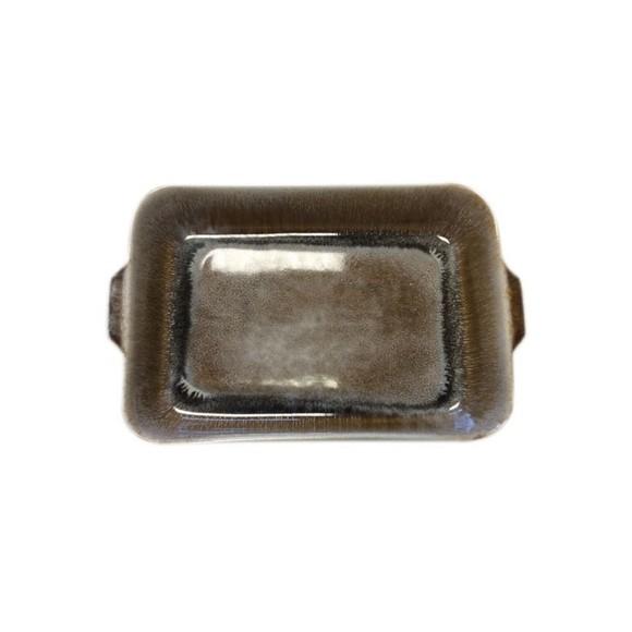 Plat à four grès réactif caramel 33x21xh6,5cm