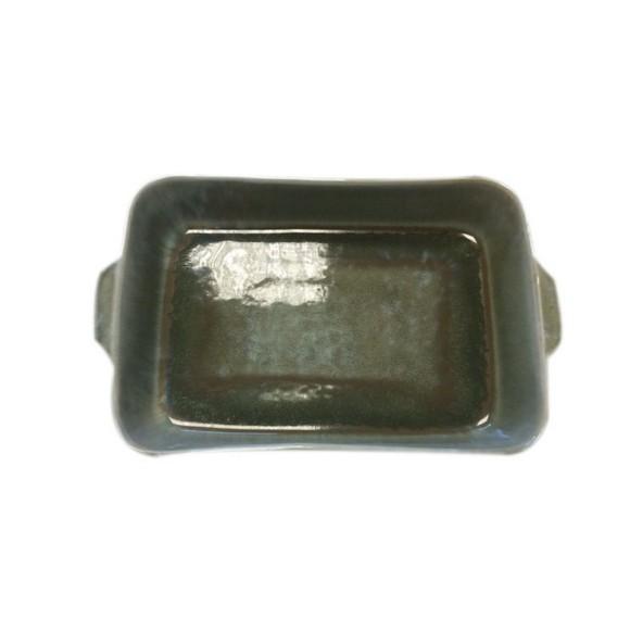Plat à four grès réactif vert 33x12xH6,5cm