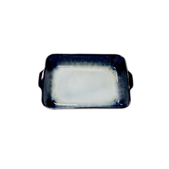 Plat à four grès réactif noir dégradé 26x16xH5cm