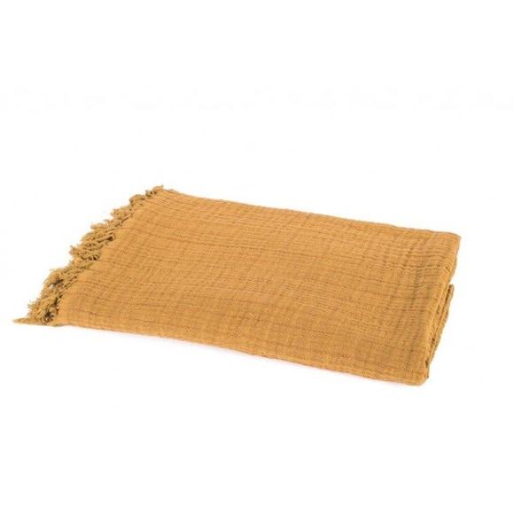 Achat en ligne Plaid en gaze de coton Vanly jaune safran 130x190cm