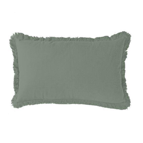 Achat en ligne Coussin en gaze de coton Colombe vert fumée 30x50cm