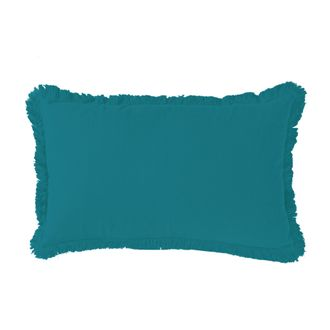 ZODIO - Coussin en gaze de coton Colombe bleu peacock 30x50cm
