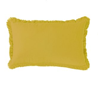 Coussin en gaze de coton Colombe jaune curry 30x50cm