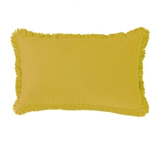 Coussin en gaze de coton colombe jaune curry 30x50cm