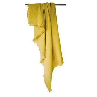 ZODIO - Plaid en gaze de coton Colombe jaune curry 130x150cm