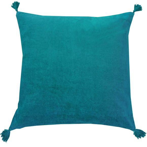 Achat en ligne Coussin en velours de coton Nala bleu peacock 50x50cm