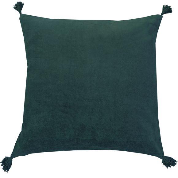 Coussin en velours de coton Nala vert cèdre 50x50cm