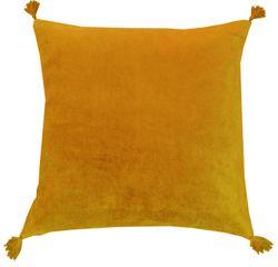 Achat en ligne Coussin en velours de coton Nala jaune curry 50x50cm