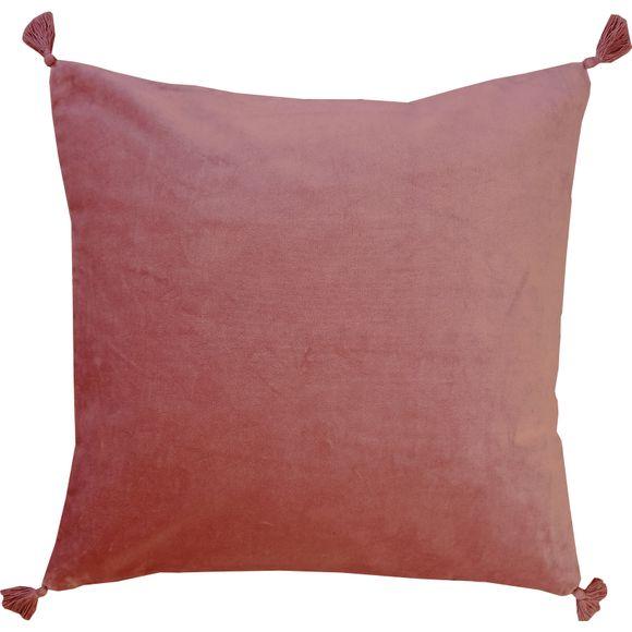 Coussin en velours de coton Nala rouge terracotta 50x50cm