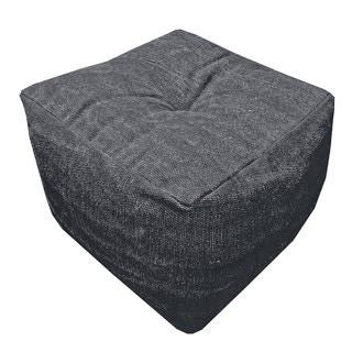 Pouf en canvas Côme charbon 40x30x30cm