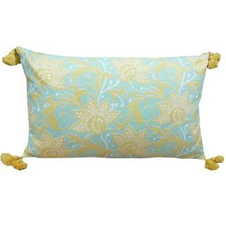 Zodio - coussin en coton imprimé fleur softwear moutarde et vert 30x50cm