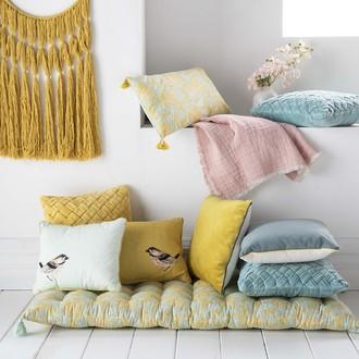 Futon en coton imprimé fleur softwear jaune et vert 60x120cm