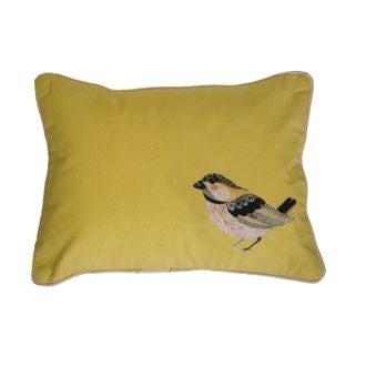 Zodio - coussin en coton imprimé bird softwear moutarde 30x40cm