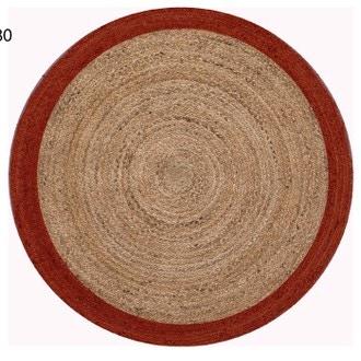 Tapis en jute Ezpeleta à contour rouge Ø120cm