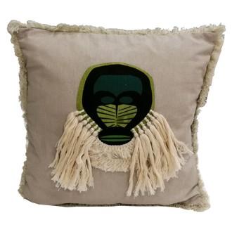 Coussin coton imprimé brodé exotic masque ouanderou 40x40cm