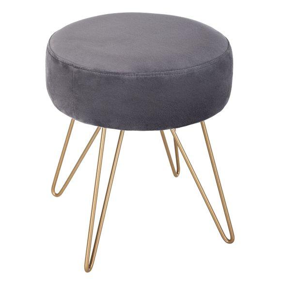 Achat en ligne Tabouret en velours gris avec pied en métal filaire doré