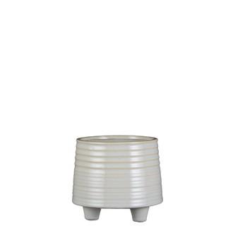 Cache pot en céramique gris puck 13,5x15,5cm