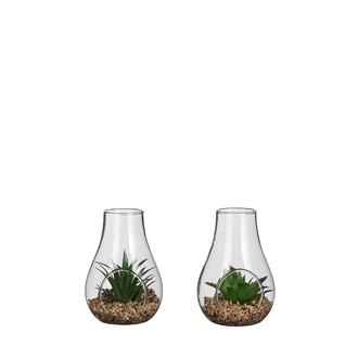 Terrarium garnie avec succulente articielle 8x7,5x12cm - 2 modèles au choix