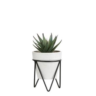 Succulente artificielle en pot blanc et support métal 19x10,5cm