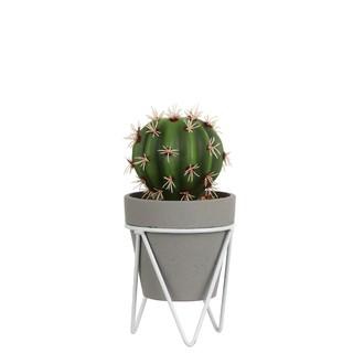 Cactus artificiel en pot gris et support métal 21,5x10,5cm