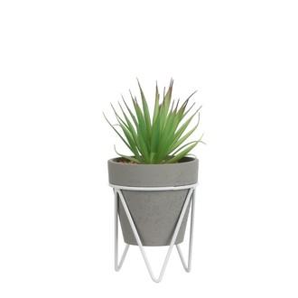 Succulente artificielle en pot gris et support métal 25x10,5cm