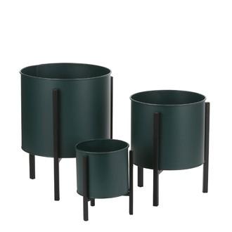 Cache pot sur pied en métal vert jessy 29x22cm