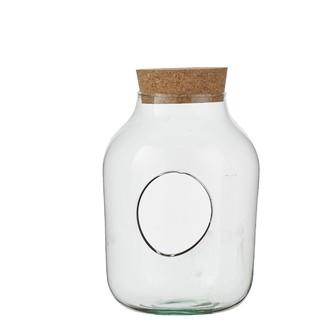 Terrarium bocal en verre avec bouchon en liège 27x19cm
