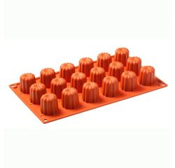compra en línea Molde para 18 mini flanes o canelés de silicona (30 x 17,5 cm)