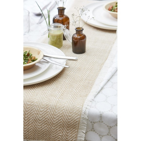 Achat en ligne chemin de table avec frange blanc naturel