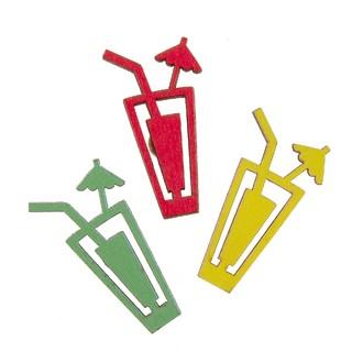 6 verres cocktail à disperser jaune/vert/rouge