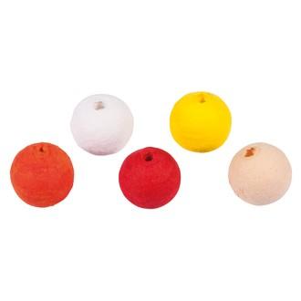 27 Boules de ouate oranges et jaunes à enfiler