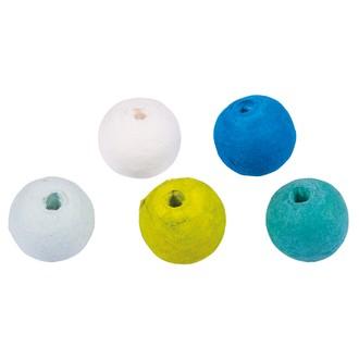 26 Boules de ouate bleues et vertes à enfiler