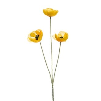 Fleur de coquelicot artificiel ramifié jaune 50cm