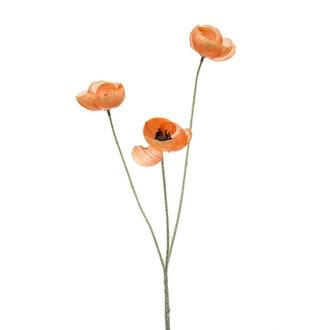 Fleur de coquelicot artificiel ramifié orange 50cm