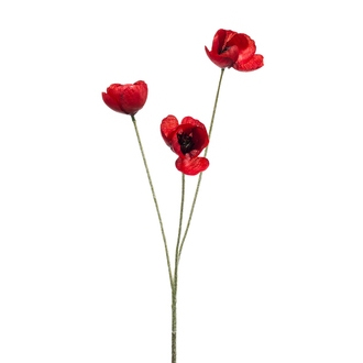 Fleur de coquelicot artificiel ramifié rouge 50cm