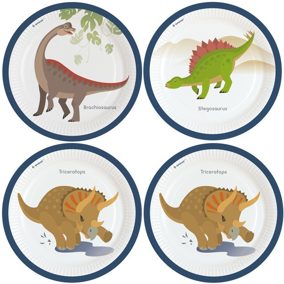 8 Assiettes Happy Dinosaure