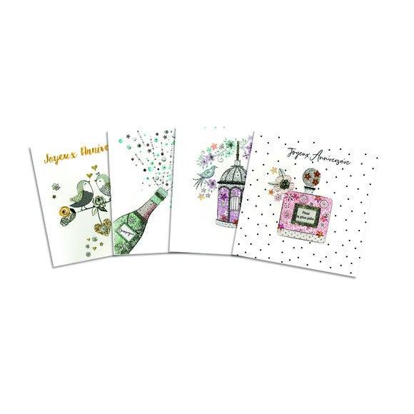 Carte double avec glitter et strass 15x15 avec enveloppe