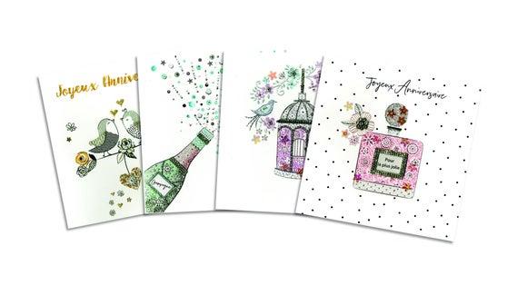 Achat en ligne Carte double avec glitter et strass 15x15 avec enveloppe