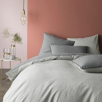 Housse de couette 140x200cm en flanelle gris chiné clair et gris
