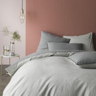 Housse de couette 260x240cm en flanelle gris chiné clair et gris