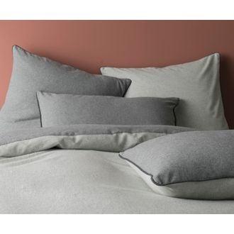 Taie 50x70cm flanelle gris chiné clair/gris +passepoil