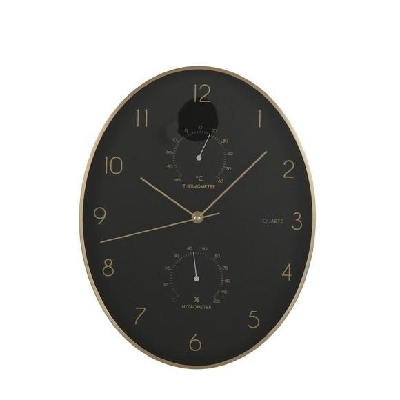 Horloge ovale noir et laiton thermomètre hygromètre 27x35cm